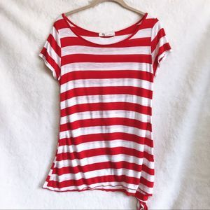 Forever 21 Red and White Striped Short Sleeve Top